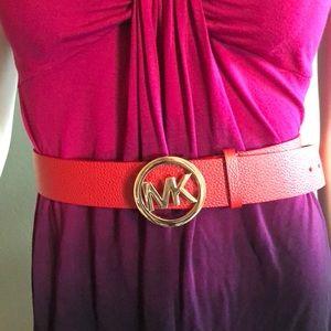 Michael Kors Red leather logo belt medium.